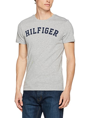 Tommy Hilfiger SS Tee Logo, T-shirt  Homme, Gris (Grey Heather 004), Medium