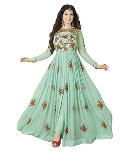 Home Deal Green Georgette Anarkali Gown Semi-Stitched Suit
