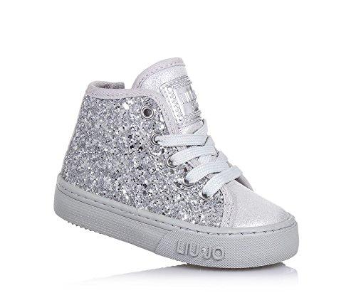 LIU-JO-Sneaker-stringata-argento-in-pelle-e-glitter-con-chiusura-zip-laterale-logo-sulla-linguetta-Bambina-Ragazza