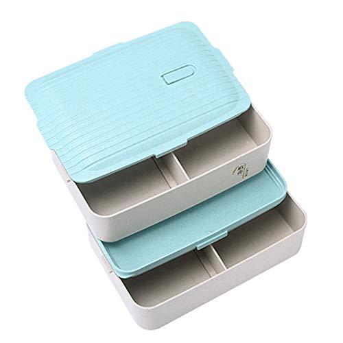 Brotdose Bento-Box Weizenstroh BPA frei Sandwich, Sushi, Brotkasten zwei Fächer und Besteck Mikrowellengeeignet, für Geschäftsreisen, Camping,Blue