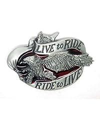 c9899432f18b Choppershop Live to Ride Ride to Live Fling Eagle Motor Cycles Boucle de  Ceinture
