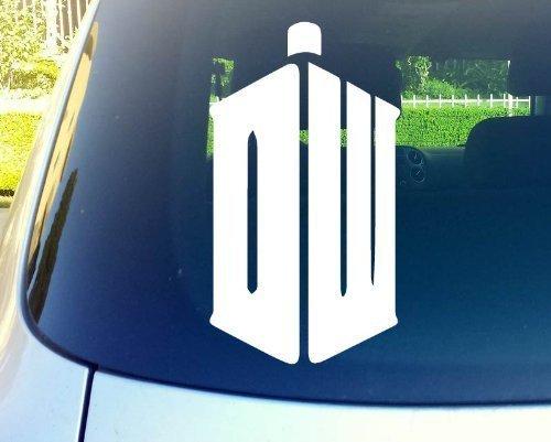 Dw Taris Doctor Who Logo 15,2 cm weiß Vinyl-Aufkleber für Auto, Fenster, Wand, Laptop, Notebook etc. Alle glatten Oberflächen wie Fenster, Stoßstangen, ()