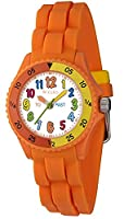 Tikkers Boys or Girls White Multi-Colour Index Orange Rubber Silicone Strap Time Teacher watch - NTK0008