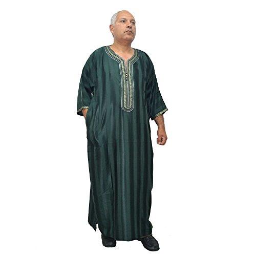 Horus Artesanía de Egipto Chilaba amplia de satén verde, gal.laba, túnica, caftán modelo marroquí, árabe, mide 70 cm de sisa y 145 cm de largo