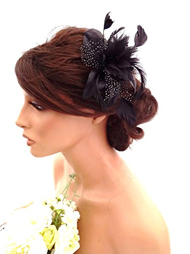 Feather and Flower Hair comb slide Fascinator with Glittery Spotty net Bridal Wedding Races Prom (Black) by Inca