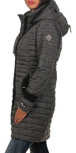 khujo Damen Mantel Daily Parka Kapuzenmantel Kurzmantel gefütterte Winterjacke F34 dark grey melange check