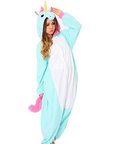 Rhh Unisex Adulto Onesie Anime Costume Kigurumi Cosplay Animali Pigiama Di Felpa Pigiameria Blu Unicorno M