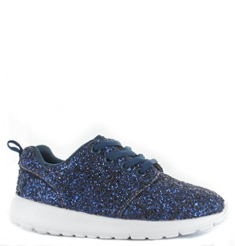 SHUMAD  Glitter Trainers, Baskets mode pour fille Bleu Marine