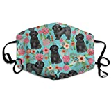 Black Shih Tzu Floral Dog Shih Tzu Cute Dog Turquoise Anti-Dust Cotton Mouth Face Masks Reusable for Outdoor Half Face Masks