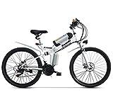 lvbeis Erwachsene Elektrisches Fahrrad Faltendes Mountainbike Tragbares Pedelec E-Bike 40 KM/h E-Fahrrad Mit Hilfsmotor,White
