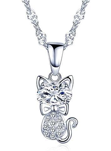 Unendlich U Niedlich Katze Kätzchen Schleife Damen Halskette 925 Sterling Silber Zirkonia Anhänger Kettenanhänger, Silber