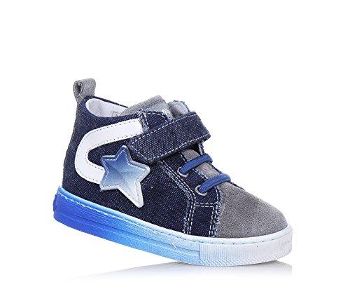FALCOTTO - Scarpa stringata blu e grigia New Joker in denim e camoscio, ideale per il primo passo e per il gattonamento, Bambino, Ragazzo-18