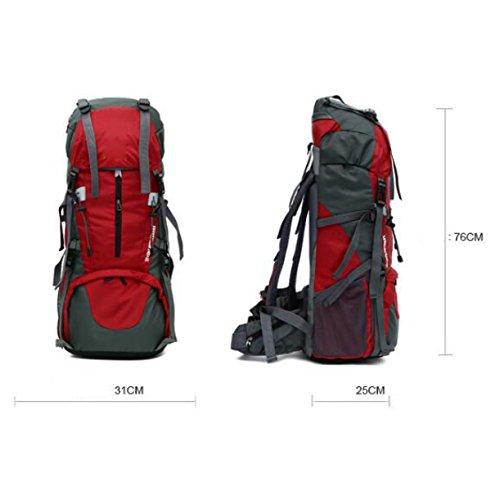 Outdoor Profi-Bergsteigen Rucksack 65 + 5 L Großer Kapazitäts-Wander-Abenteuer Multifunktions-Rucksack,Red Blue