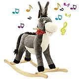 BAKAJI Asino Cavallo a Dondolo per Bambini con Suoni Realistici Struttura in Legno e Tessuto Peluche di qualità Giochi Infanzia (Grigio)
