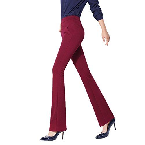 YiLianDa Pantaloni Zampa Elefante Donna Slim Fit Stretch OL Temperamento Ladies Pantaloni Rosso