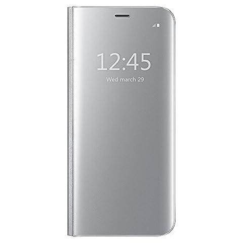 Coque Galaxy S6 Edge,Grandcaser Clear View Etui Flip Folio Coque Smart Cover [Sommeil/Réveiller Fonction] Ultra-Mince Translucide Miroir Housse Etui À Rabat pour Samsung Galaxy S6 Edge-Argent