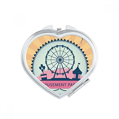 DIYthinker Parc d'attractions Couleur Carousel Illustration Miroir Ovale Maquillage Compact Portable Mignon Miroirs de Poche à la Main Cadeau Multicolor