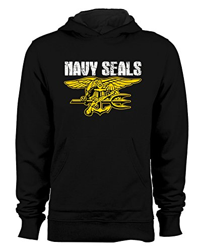 Felpa con cappuccio tribute navy seals marines army - Tutte le taglie Nero