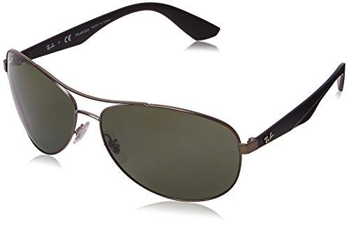 Ray-Ban Unisex Sonnenbrille Rb3526, Grau (Gestell: Gunmetal Glas: polarisiert dunkelgrün 029/9A), Large (Herstellergröße: 63)