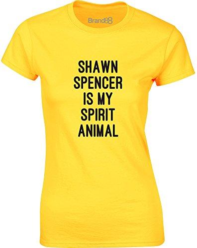 Brand88 - Shawn Spencer is my Spirit Animal, Gedruckt Frauen T-Shirt Gänseblümchen-Gelb/Schwarz
