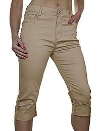 ICE (1490-1) Pantacourt en Jeans à Revers Beige Brillant pour Grandes Tailles