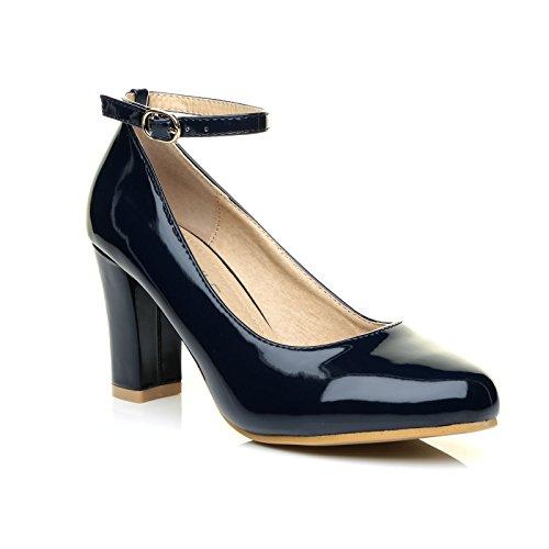ZARA Navy Blue Patent Block Heel Ankle Strap Round Toe Court Shoes Size UK 5 EU 38