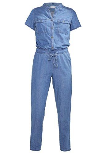 Even&Odd Jumpsuit Damen Denmin in Lang - 100 % BAUMWOLLE - Overall in Jeans-Blau mit Tunnelzug & Eingrifftaschen, Einteiler Kurzarm Blau Denim