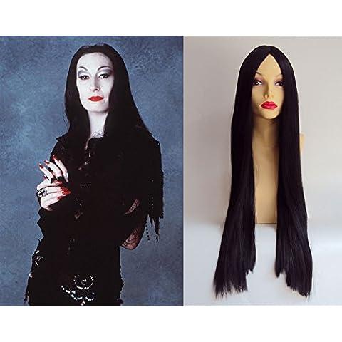 Deluxe Parrucca Costume Nera Lunga Liscia Morticia Addams da Halloween