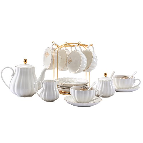 Lieras Porcelain Tea Sets British Royal Series, 8 OZ Cups& Saucer Service for 6, with Teapot Sugar Bowl Cream Pitcher Teaspoons and Tea Strainer for Tea/Coffee(Lily White)