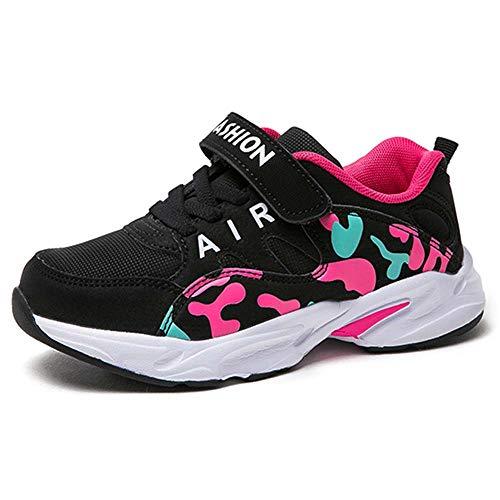 HSNA Scarpe da Ginnastica Bambina Scarpe da Correre Sneakers Leggere per Ragazze(Nero Rosso 29 EU)