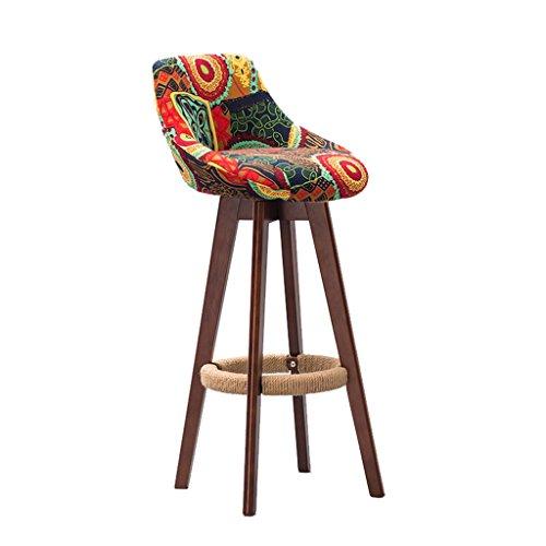 YFF~Barhocker Retro Bar Stuhl Bar Hocker Hanf Seil Sessel, Massivholz High Stuhl Restaurant Haushalt Kreative Rückenlehne Esszimmerstuhl, drehbare Stoff Kissen Frühstücks-Hocker (Garten Frühstück Kissen)