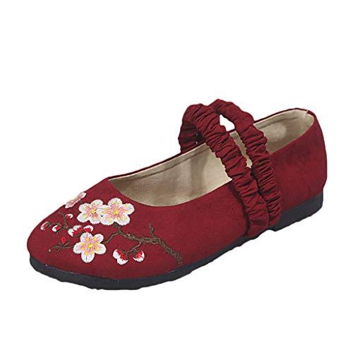Ears Frauen Sommer Breathable Tanzschuhe Bestickte Schuhe Flat Shallow Mouth Schuhe Beiläufig Böhmische Schuhe Lässige Römische Schuhe Casual Outdoor Schuhe Bequem Leichte Schuhe Slipper
