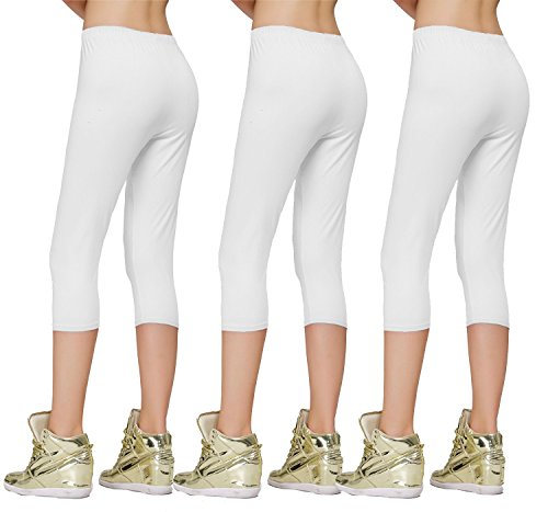 DIAMONDKIT cotton stretch capri legging de sport doublé pour femme 3Pk White/White/White