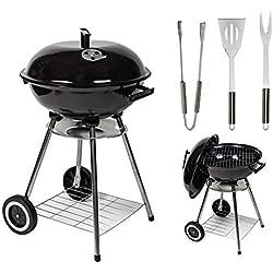 Mylek Barbecue à gril à charbon portable avec couvercle, et 3 ustensiles de cuisine - Zone de cuisson de 43cm