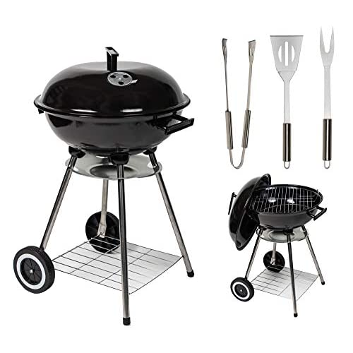 "41z5TjgcdeL. SS500  - MYLEK Charcoal Barbecue Kettle Portable Grill BBQ with Lid & 3 Cooking Utensils - 17"" Cooking Area"