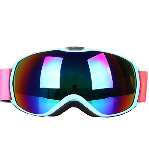 LYLhmj Skibrille Kinder Ski Snowboard Brille Brillenträger Snowboardbrille Schneebrille Verspiegelt - Für Junior Jungen Mädchen Baby Teenager - 3 4 5 6 7 8 9 10 11 12 Jahre - OTG Anti-UV Anti-Fog (Blau)