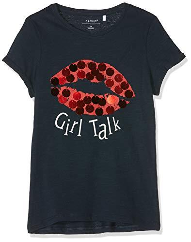 NAME IT Mädchen NKFICON MIA SS TOP LIC T-Shirt, Blau (Dark Sapphire Dark Sapphire), 134 (Herstellergröße: 134-140)