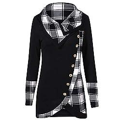 VEMOW Herbst Winter Elegante Damen Frauen Langarm Hoodies mit Knopf Gedruckt Lässig Täglichen Sport Outdoors Hoodies Herbst Sweatshirt(X2-a-Schwarz, 42 DE/L CN)