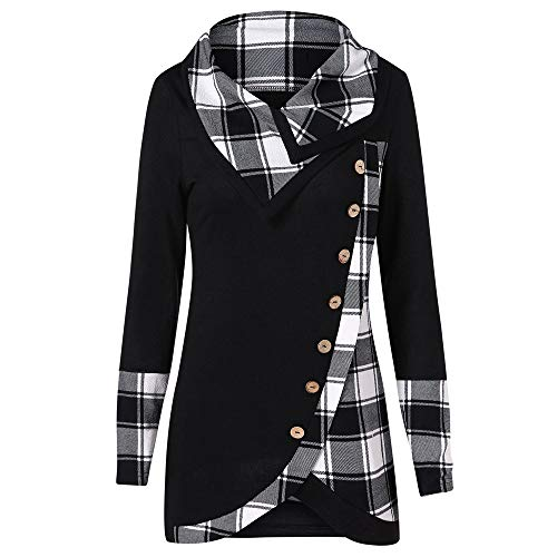 OIKAY Damen Pullover Sweatshirt Langarm T-Shirt Tops Bluse Damen Langarm Karo Rollkragen Tartan Tunika Sweatshirt Pullover...