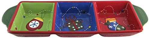 Home Noël Plat Hors d'oeuvres, Faience, Vert/Bleu/Rouge