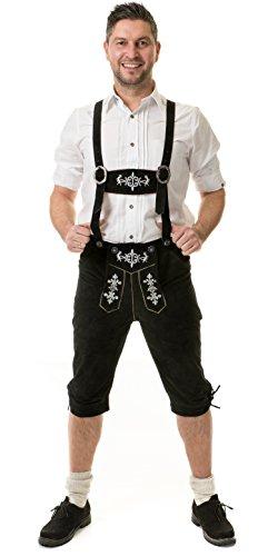 Costume da uomo in pelle pantaloni al ginocchio vita Alm cervo marrone o nero marca (Mens Nero Cervo)