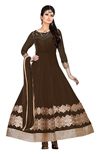 Clickedia Women and Girls Net Heavy Brown Anarkali Salwaar suit - Dress Material  available at amazon for Rs.849