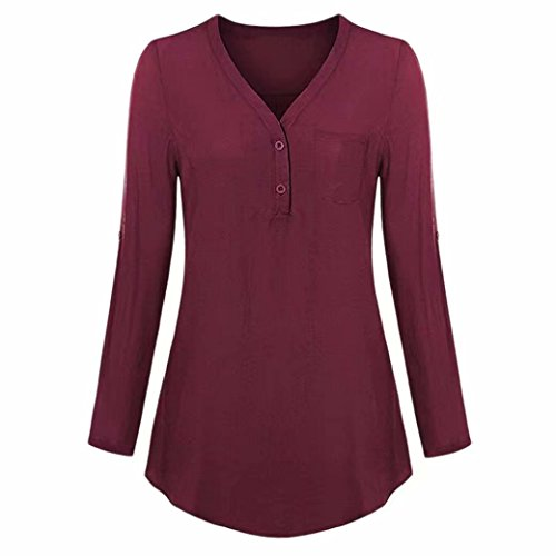 Damen Tops Daoroka Damen 3/4-Roll-Up-Ärmel V-Ausschnitt Taschen Knopf Split Casual Lose Mode Solide Herbst Bluse Hemd M Wein -