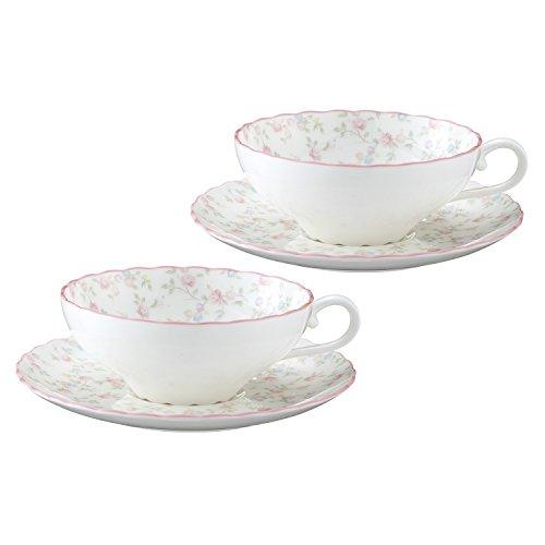 Bone china tea Cutie Rose porcelain bowl plate pair set P58043A/9940 (japan import) Noritake China