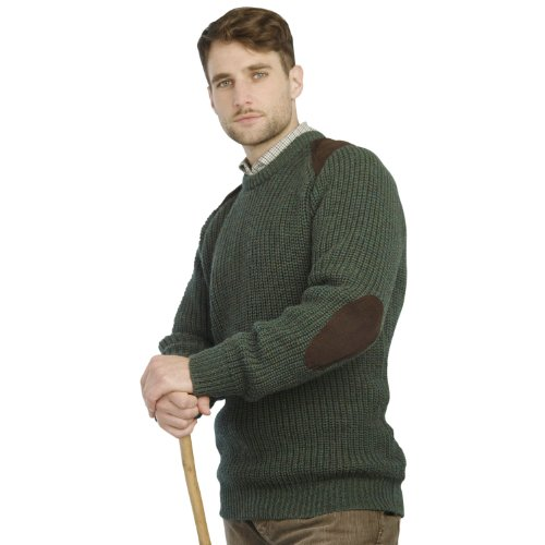 Fishermans Rib Sweater with Patches Moss
