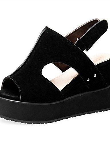 LFNLYX Chaussures Femme-Extérieure / Habillé / Décontracté-Noir / Rouge / Gris / Amande-Talon Compensé-Compensées-Sandales-Laine synthétique gray