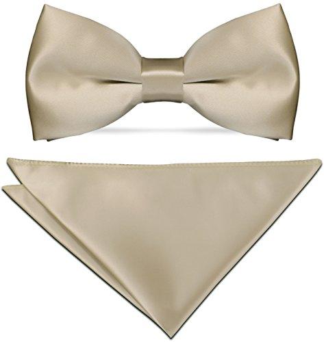 CRIXUS Herren Fliege SAND BEIGE mit Einstecktuch ( Größe wählbar ) Konfirmation Anzug Smoking Schleife Schlips einfarbig (Fliege mit Tuch Größe ( 31 x 31 cm ))