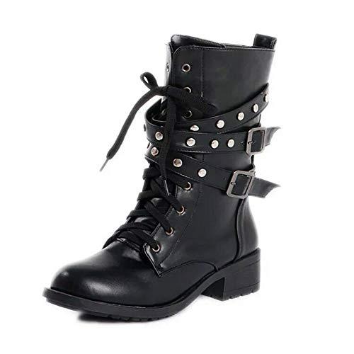 uirend Schuhe Stiefel Stiefeletten Damen - Biker Riemen und Schnallen Halbschaft Schnürsenkel Nieten Mode Motorrad Combat