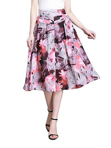 Damen Hosenrock Freizeit Geblümt elastische Taille #1 Asien 4XL- EU 46 ( EU XL )