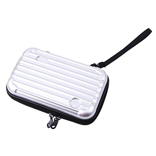 Yinew Kosmetik-Tasche, Kulturbeutel, wasserdicht, Mini-Koffer mit tragbarer Reise Kosmetik-Make-up-Tasche, silber, Siehe Produktbeschreibung